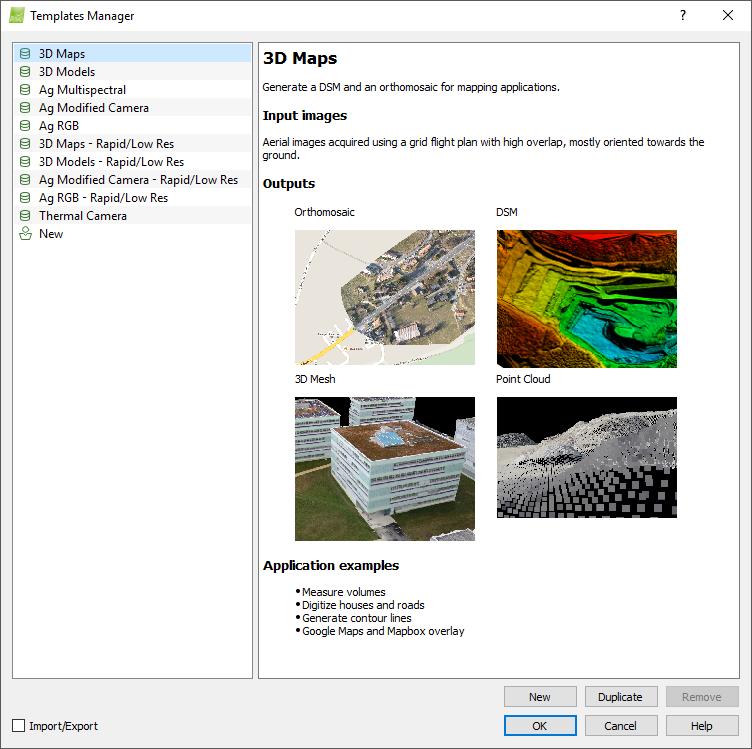 Menu Process > Processing Options... > Templates – Support