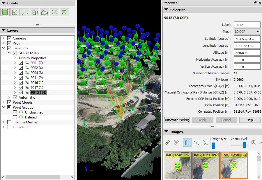 Aerofotogrammetria da drone e Pix4Dmapper: editor raycloud per GCP/MTP
