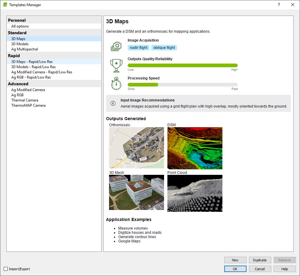 menu process processing options templates support