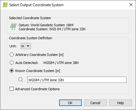 menu project select output coordinate system support