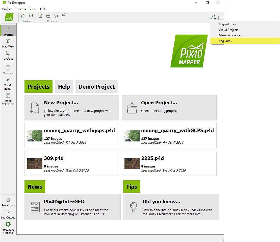 How to log out Pix4Dmapper Desktop – Support