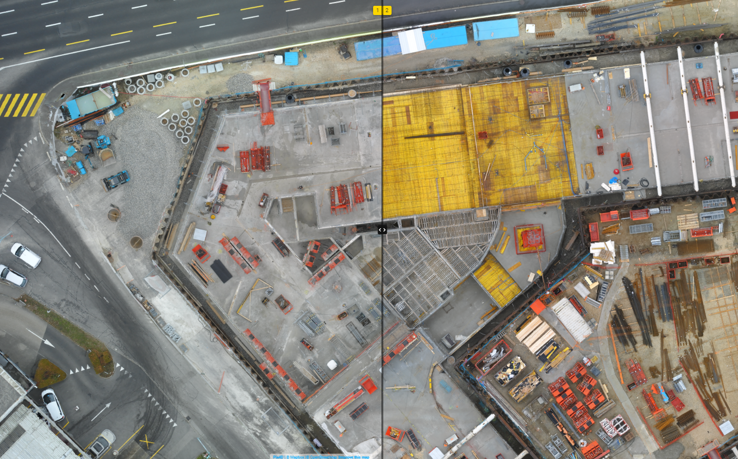 2D comparison of the construction site