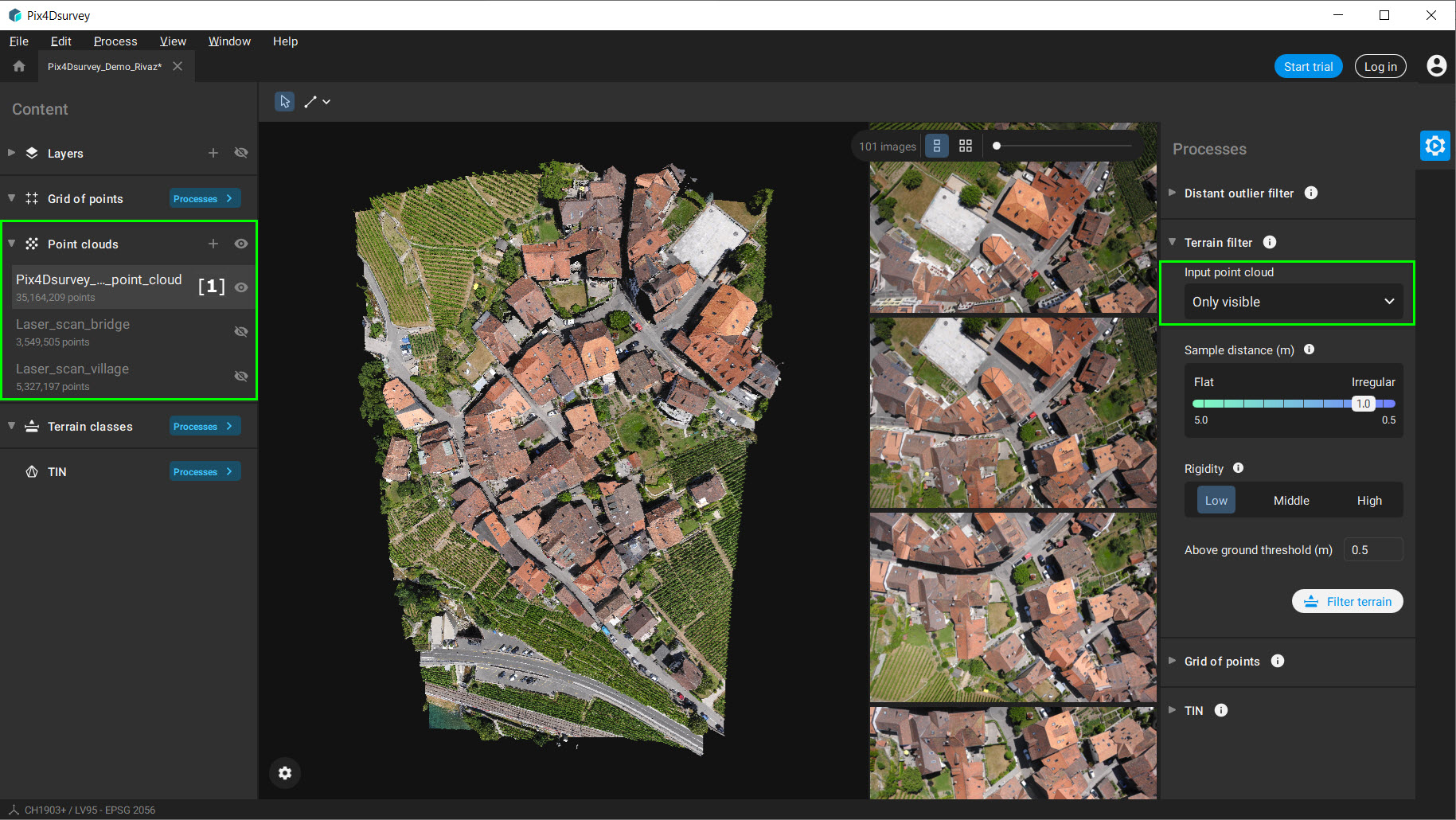 Pix4Dsurvey only visible point cloud